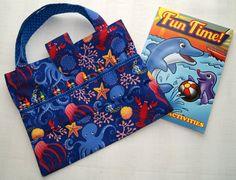 ocean blue sea life crayon holder coloring book crayon tote - Coloring Book And Crayon Holder