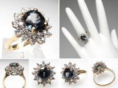 Estate Blue Green Sapphire & Diamond Ring Solid 14K Gold