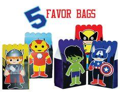 INSTANT DOWNLOAD Avengers Superhero Kids Favor Bags, Printable Party Favors - 5 Designs on Etsy, $10.00