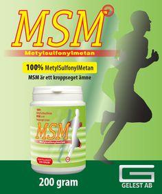 100% MetylSulfonylMetan. MSM är ett kroppseget ämne.