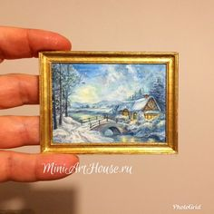 Dollhouse miniature painting with winter landscape. Watercolor.