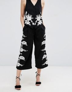 ASOS PETITE Luxe Pretty Floral Embroidery Co-ord