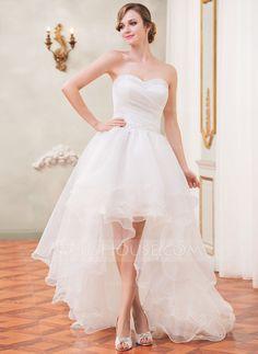A-Line/Princess Sweetheart Asymmetrical Organza Wedding Dress With Ruffle Beading Sequins (002031874) - JJsHouse