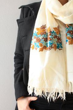 White Shawl Floral Scarf Head  Wool / Fall Scarf / by SusVintage