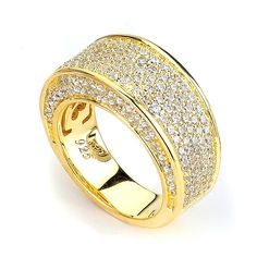 Micro Pave CZ Big and Wide Band (14K Yellow Gold)