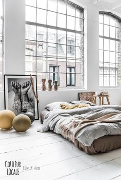 Someone on #glasshouse should totally be doing this style, white floor boards, make it a loft style warehouse!