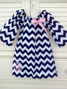 Monogrammed Chevron Peasant Dress with Detachable Bow. $36.00, via Etsy.