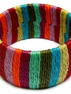 Charissa's Multi Color Striped Hemp Bangle - As Seen In Glamour - None My Wholesale Route. $23.95