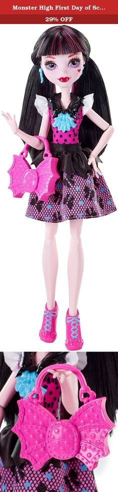 Monster High First Day of School Draculaura Doll. The Monster High dolls are ready for the howl ways dressed for the first day of school. Draculaura doll looks fabulous in her signature look. Flexibility at the shoulders and knees adds to the fun with more scary cool poses and storytelling possibilities. The daughter of Dracula is boo-tiful in a pink and black dress with polka dots and ruffled sleeves on the bodice and a bat-inspired print with black peplum on the skirt. Flawesome fashion...