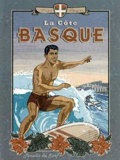 La Cote Basque de Surf Posters par Bruno Pozzo sur AllPosters.fr