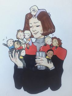 Janeway and her crew, basically. Star Trek Voyager, Captain Janeway, Star Wars, Star Trek Ships, Love Stars, To Infinity And Beyond, Sci Fi, Geek Stuff, Fan Art