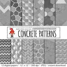 "New to SandraGraphicDesign on Etsy: Digital paper: ""CONCRETE PATTERNS"" with modern geometric patterns on concrete texture in shades of grey (1164) (4.00 USD)"