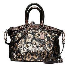 Coach Limited Edition Sequin Mini Sophia Convertiable Satchel Bag Purse Tote 18638 Bronze$358.99
