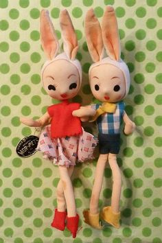 Vintage Mop-pets Bunnies - one wears gingham