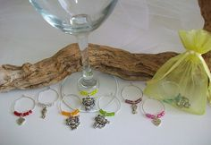 Cat Wine Glass Charms in Organza Gift Bag, Cat & Wine Lovers Gift Party Favors, Wine Glass Indicators, Pet Related Event Favor Gift, Barware by SeashellBeachDesigns on Etsy