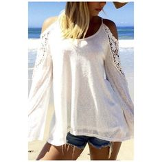 Women's Beach Off Shoulder Long Sleeve Lace Crochet Blouse Shirt Top ($26) ❤ liked on Polyvore featuring tops, blouses, white lace shirt, white collared blouse, long-sleeve shirt, white collar shirt and long shirt
