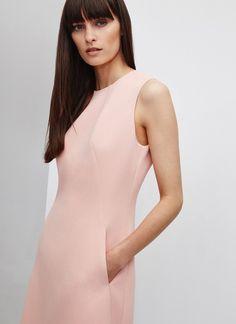 Vestido rosa cuarzo en piqué