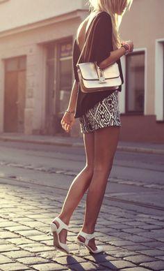 Aztec print shorts. #style #fashion #clothing