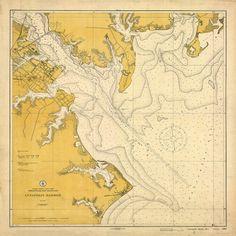 Vintage 1911 Nautical Chart of Annapolis Harbor