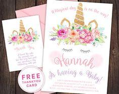 Unicorn invitation, unicorn baby shower invitation, Unicorn party, unicorn cake invitation, baby girl, unicorn crown, unihorn, unicorn horn