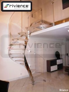 Rivience - Nos escaliers design: escalier hélicoidal, escalier suspendu, escalier à poutre centrale, escalier verre, acier, inox, relooking