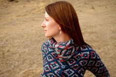 Oblique Motion a top-down cardigan with diamond colorwork pattern, double knitted for a gorgeous collar.