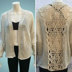 """SALE❗️ Crochet Back Cardigan Sheer crochet makes a marvelous addition on the back of this cozy cardigan. Soft textured knit sculpts, long sleeves. Polyester, cotton, spandex. Hand wash. Length: 28"""" from shoulder. Made in USA. Sweaters Cardigans"""