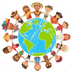 Multicultural character on planet earth cultural diversity traditional folk costumes. Different culture standing together holding hands. Unity people from around the world. Around The World Theme, Around The Worlds, World Clipart, Cultural Diversity, Illustration, Thinking Day, Earth Day, Drawing People, Coloring Pages