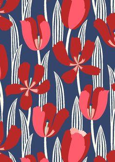 Motifs Textiles, Textile Patterns, Textile Prints, Flower Patterns, Flower Pattern Design, Lino Prints, Block Prints, Surface Pattern Design, Pattern Art