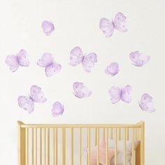 Felicity Butterflies Decals - Project Nursery Butterfly Nursery, Butterfly Wall Decals, Purple Butterfly, Nursery Wall Decals, Vinyl Wall Stickers, Girl Nursery, Girls Bedroom, Painted Rug, Big Girl Rooms