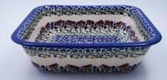 Deep 11.5 inch Square Casserole (Poppy Parade) from The Polish Pottery Outlet