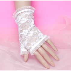 Buy Womens White Lace Open Finger Wedding Bridal Dress Gloves SKU-11201017