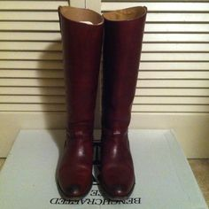 Frye Lindsay Riding Harness Boot in Burnt Red Pre-loved Frye Boots purchased from Bloomingdales. In great condition, as I only wore these a couple of times and take good care of my shoes. While I am a 6.5 these fit me quite nicely even with a medium-thickness box. Will come with box. Please leave your email if you'd like more pictures! Frye Shoes