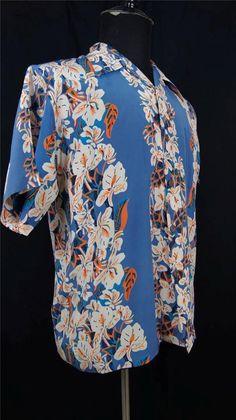 44240471 Vtg Avanti Mens SS Shirt Silk Hawaiian Blue Orange White Hibiscus Flowers S  | eBay White