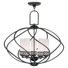 5-light chandelier with hand-blown satin glass shades.    Product: ChandelierConstruction Material: Metal and g...