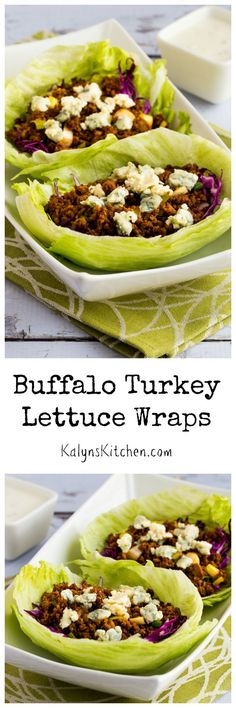 Buffalo Turkey Lettuce Wraps are deliciously spicy and easy to make! [from KalynsKitchen.com] #LowCarb #GlutenFree