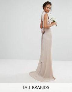 TFNC Tall Wedding – Hochgeschlossenes Maxikleid mit Schleife hinten  Schleife, Kleider, Maxi Brautjungfernkleider,. ASOS 07b2e90e44