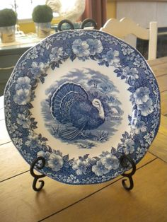 Wedgwood Turkey Transferware Blue and White Plate Blue Dishes, White Dishes, White Plates, Blue Plates, Wedgewood China, Turkey Plates, Blue Onion, Vintage Thanksgiving, Blue And White China