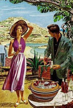 Acapulco in the 1950s. Coca Cola advert artwork