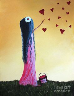 Little Girl Painting - How She Says I Love You By Shawna Erback by Shawna Erback