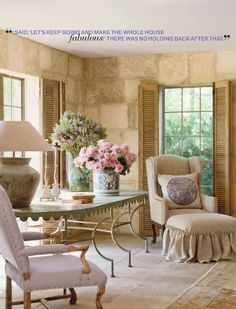 PAMELA PIERCE ~ DESIGN IN TEXAS ~ Pretty siiting room stone walls, neutrals