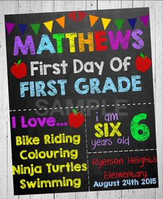 Chalkboard School Sign First Day Of First by PartyPrintableInvite