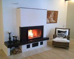 Tiilestä muurattu varaava takka Fireplaces, Finland, Flat Screen, Interior Design, Home Decor, Wood Burning Fireplaces, Stoves, Fireplace Set, Blood Plasma