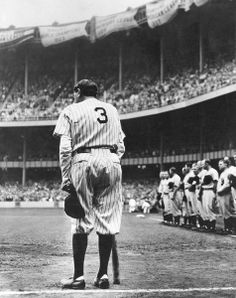 New York Yankees Babe Ruth bows as he acknowledges the cheers of thousands of fans who saw the no. 3 retired permanently by the Yankees during the June 13, 1948 observance of the 25th anniversary of the opening of Yankee Stadium in New York. (Sporting News Archives)