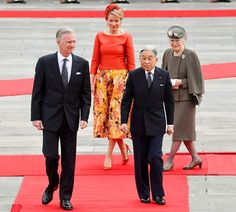 King Philippe and Queen Mathilde of Belgium meet with Japanese Emperor Akihito and Empress Michiko at the Imperial Palace on October 11, 2016 in Tokyo, Japan. The Belgian royal couple are on a six-day visit to Japan through October 15 as state guests to commemorate the 150th anniversary of bilateral ties.