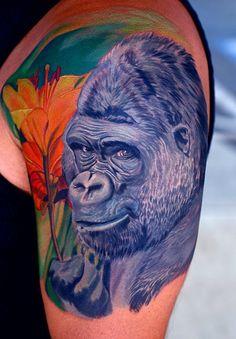 ... gorilla roaring face tattoo on half sleeve colorful 3d pug face tattoo