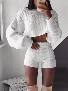 b6355c2a7ae5 Knitted Long Sleeve Crop Top   Shorts Sets Crop Top Outfits