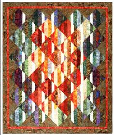 """This quilt was designed for 2 1/2"""" Strips. If you can sort your fabric into lights and darks or into two color groupings, you can make this stunning but easy hassle-free art quilt. In addition to stri"""
