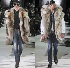Dsquared2 2015-2016 Fall Autumn Winter Mens Runway Catwalk Looks - Milano Moda Uomo Collezione Milan Fashion Week Italy Camera Nazionale della Moda Italiana - Vintage Dirty Denim Jeans Destroyed Outerwear Furry Coat Parka Shearling Plaid Metallic Studs Fringes Suit Moto Motorcycle Biker Leather Vest Waistcoat Quilted Puffer Cargo Pockets Peacoat Tartan Bag Embroidery Flowers Florals Zipper Ushanka