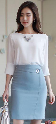 StyleOnme_Decorative Belt Slim Fit H-Line Skirt #blue #pencilskirt #elegant #feminine #koreanfashion #kstyle #kfashion #seoul #springtrend